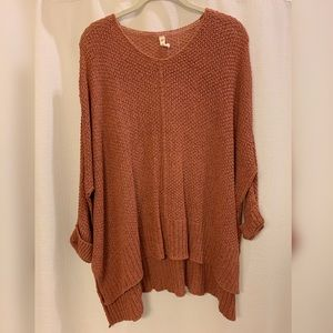 Laid back knit sweater in ginger/brown
